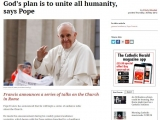 <p>Pope Francis has announced that he will begin a series of audience talks about the Church.</p> <p>He made the announcement during his weekly general audience yesterday, which began with the Pope getting drenched by a cloudburst as he rode through St Peter&rsquo;s Square in an open Popemobile.</p> <p>The Pope said that &ldquo;people today say, &lsquo;Christ, yes; the Church, no,&rsquo; like they say, &lsquo;I believe in God, but not in priests'&rdquo;. Such a position does not make sense because &ldquo;it is the Church that brings us Christ and brings us to God. The Church is the great family of God&rsquo;s children.&rdquo;</p> <p>&nbsp;</p> <p>http://www.catholicherald.co.uk/news/2013/05/30/gods-plan-is-to-unite-all-humanity-says-pope/</p>