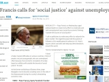 "<p><span>VATICAN CITY — Pope Francis on Wednesday urged political leaders to make every effort to create jobs and said unemployment was caused by economic thinking ""outside the bounds of social justice."" </span></p> <p><span>""I call on politicians to make every effort to </span><span>relaunch</span><span> the labor market,"" the Argentine pope told thousands of followers at his weekly general audience in St. Peter's Square, which coincides with May Day demonstrations around the world. </span></p> <p><span>""Work is fundamental for dignity,"" he said. </span></p> <p><span>""I think of labor market difficulties in various countries. I think of people, not just young people, who are unemployed often because of an economic conception of society based on selfish profit outside the bounds of social justice,"" he said. </span></p> <p><span>As the former archbishop of Buenos Aires, Jorge </span><span>Bergoglio</span><span>, Francis became a leading voice on the side of the dispossessed during his country's devastating economic crisis. </span></p> <p><span>http://newsinfo.inquirer.net/400559/pope-francis-calls-for-social-justice-against-unemployment</span></p>"