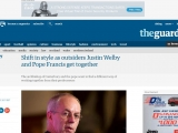 <p>https://www.theguardian.com/uk/2013/jun/13/justin-welby-pope-francis</p>