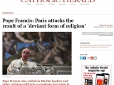 <p><span>Pope Francis called on religious communities to condemn terrorism, especially Muslim leaders. He said: &ldquo;I express my hope that religious, political and intellectual leaders, especially those of the Muslim community, will condemn all fundamentalist and extremist interpretations of religion which attempt to justify such acts of violence.&rdquo;</span></p> <p>http://www.catholicherald.co.uk/news/2015/01/12/pope-francis-paris-attacks-the-result-of-a-deviant-form-of-religion/</p>