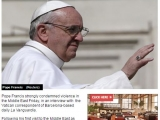 "<p>Pope Francis strongly condemned violence in the Middle East Friday, in an interview with  the Vatican correspondent of Barcelona-based daily La Vanguardia.</p> <p>Following his first visit to the Middle East as pope last month, the pontiff criticized fundamentalism in Christianity, Islam and Judaism as a form of violence.   </p> <p>""A fundamentalist group, even if it kills no one, even it strikes no one, is violent. The mental structure of fundamentalism is violence in the name of God.""   </p> <p>http://www.israelnationalnews.com/News/News.aspx/181689#.VPAyBdWqqko</p>"