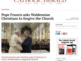 <p>Pope Francis has asked Waldensian Christians to forgive the Catholic Church for historic persecution.</p> <p>Earlier today Francis became the first pontiff in history to visit a Waldensian evangelical church, when he attended the Waldensian temple in Turin. The Pope is currently taking part in a two-day visit to the city in northern Italy.</p> <p>The Waldensian church, which was founded in the 12th century, was rejected by the Catholic Church and its members were brutally persecuted during the Middle Ages.</p> <p>http://www.catholicherald.co.uk/news/2015/06/22/pope-francis-asks-waldensian-christians-to-forgive-the-church/</p>