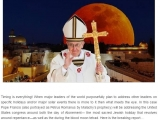 <p><span>Timing is everything! When major leaders of the world purposefully plan to address other leaders on specific holidays and/or major solar events there is more to it then what meets the eye. In this case Pope Francis (also portrayed as </span><span>Petrus</span><span>Romanus</span><span> by </span><span>Malachy's</span><span> prophecy) will be addressing the United States congress around both the day of Atonement— the most sacred Jewish holiday that revolves around repentance—as well as the during the blood moon tetrad. Here is the breaking report… </span></p> <p><span>http://beforeitsnews.com/prophecy/2015/02/wow-pope-to-address-congress-during-blood-moon-tetrad-and-day-of-atonement-plus-talk-of-an-asteroid-that-same-week-what-it-all-means-2467186.html</span></p>