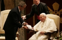 George W. Bush with Pope John Paul II in 2004 Watch A New World Order on ADtv for more information.