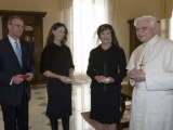 "<p>Laura Bush, daughter Barbara Bush and Francis Rooney, U.S. Ambassador to the Vatican, meet in a private audience with Pope Benedict XVI, Thursday, Feb. 9, 2006 at the Vatican.</p> <p>Watch <a href=""https://amazingdiscoveries.tv/media/134/221-a-new-world-order/"">A New World Order on ADtv</a> for more information. </p>"