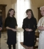 <p>Laura Bush, daughter Barbara Bush and Francis Rooney, U.S. Ambassador to the Vatican, meet in a private audience with Pope Benedict XVI, Thursday, Feb. 9, 2006 at the Vatican.</p>