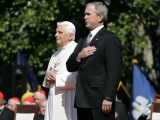 "<p>Pope Benedict XVI with George W. Bush.</p> <p>Watch <a href=""https://amazingdiscoveries.tv/media/134/221-a-new-world-order/"">A New World Order on ADtv</a> for more information. </p>"