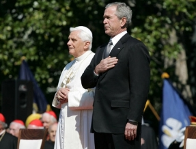Pope Benedict XVI with George W. Bush. Watch A New World Order on ADtv for more information.