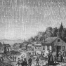An 1889 rendition of the 1833 meteor shower. Public Domain Chicago: Review and Herald, 1888 https://commons.wikimedia.org/wiki/File:Leonids-1833.jpg