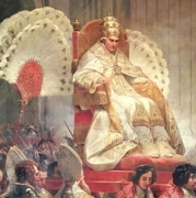 Pope Pius VIII being carried on a throne with feathered fans around him, just as the pagan deities were carried. Public Domain https://commons.wikimedia.org/wiki/File:Pope_Pius_VIII_in_St._Peter%27s_on_the_Sedia_Gestatoria.PNG