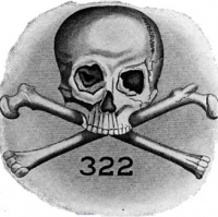The logo of the Skull and Bones consists of a skull and crossbones, along with the number 322. According to one theory, 322 symbolises the year the society was founded (1832) and indicates that it is the second chapter of a German secret society, supposedly the Bavarian Illuminati. Source: Wikimedia Commons.
