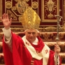 Pope with staff. Notice bent cross and Masonic triangle formed by the cross and the arms of Jesus.