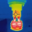 CC0 Zaereth https://commons.wikimedia.org/wiki/File:Helical_fluorescent_lamp_thermal_image.jpg