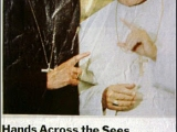 "<p><em>ARCHBISHOP OF CANTERBURY...wore a ring given to one of the Archbishop's predecessors by POPE PAUL VI. It was, he told John Paul, ""a sign not unlike an engagement ring.""</em> <br /><br /> Source:<a href=""http://www.time.com/time/magazine/article/0,9171,970814-2,00.html"" target=""blank""> Ostling et al., ""Dramatic Choice for Canterbury,"" <em>TIME</em> (August 6, 1990).</a><br /> <br /><a title=""Read our article: The Anglican Church"" href=""http://amazingdiscoveries.org/S-deception-unity_Anglican_Church_Gumbel_Archbishop"" target=""blank""> Read more about Anglican-Catholic relations.</a></p>"