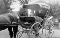 Ellen G. White in a carriage with Sara McEnterfer circa 1910.Source: Loma Linda University Archives.