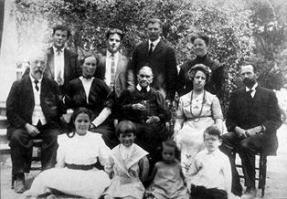Ellen White surrounded by family, 1913. Watch God's Guiding Gift on ADtv for more information.