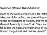 "<p>Such international collaboration among the nations of the world certainly calls for institutions that will promote, coordinate and direct it, until a new juridical order is firmly established and fully ratified... Who can fail to see the need and importance of thus gradually coming to the establishment of a world authority capable of taking effective action on the juridical and political planes</p> <p>Pope Paul VI, ""Toward an Effective Global Authority,""<em> Populorum Progressio</em> (May 27, 1967) http://www.vatican.va/holy_father/paul_vi/encyclicals/documents/hf_p-vi_enc_26031967_populorum_en.html</p>"
