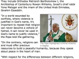 "<p>""Pope Benedict 2007: """"With respect for the differences between different religions, we are all called to work for peace and an effective effort to promote reconciliation between peoples."""" But he also made it clear that he will never budge on traditional Catholic teaching, that Catholicism alone is the one true faith.""</p> <p><em>Pope decries 'religious' violence</em> (October 21 2007). http://news.bbc.co.uk/2/hi/europe/7055147.stm</p>"
