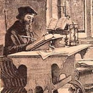 John Wycliffe.   Public Domain https://commons.wikimedia.org/wiki/File:John_Wycliffe_at_work.jpg