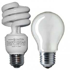 Incandescent and fluorescent lightbulbs