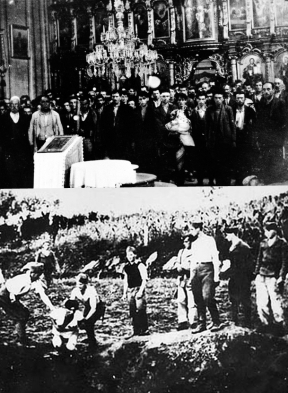 The Papacy's connections with the Croation Ustaše were obvious from the beginning. Top: Serb civilians are forced to convert to Catholicism by the Ustaše in Glina.Bottom: The execution of prisoners at the Jasenovac concentration camp, run by Franciscan Miroslav Filipović.Public Domain. https://en.wikipedia.org/wiki/File:Ustasamilitia.jpg