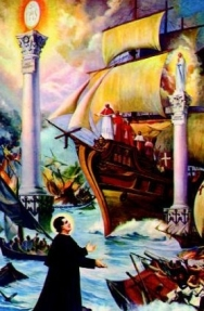 Don Bosco's vision of the ship captained by the Pope, and the two pillars of the Eucharist and Mary. These pillars are identical to common New Age teachings. Watch our ADtv video on The New Age Agenda.