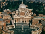 <p>St. Peter's Square. Note the obelisk and eight-spoked sun wheel forming the shape of the square. <br /><br />Copyright Amazing Discoveries.</p>