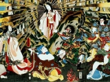 "<p>The Japanese sun goddess Amaterasu emerges out of the cave with her face painted white in a Shinto ritual dance. <br /><br />Source: <a href=""http://en.wikipedia.org/wiki/File:Amaterasu_cave_edit2.jpg"" target=""_blank"">Wikimedia Commons</a>.</p>"