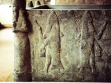 "<p>This relief from an ancient Babylonian site shows priests of Dagon with pails of ""holy water"" and hyssop bushes to sprinkle faithful worshipers. This ritual is still seen today in the Catholic and Orthodox religions. <br /><br />Notice the symbol of the sun above the the priests with wavy rays emanating from it. These wavy lines represent the female. </p>"