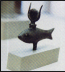 <p>A fish icon from ancient Egypt shown here with the horns of the bull on top. The bull represented the elephant. These creatures become symbols of the sun god, which is why you see bull worship and elephant worship. The horns between the eyes of the bull are also a symbol of the half moon or sickle moon, which becomes the womb of the woman which receives the rebirth of the sun god. <br /><br /> Source: <em>Great Controversy Picture CD</em>, LLT Productions.</p>