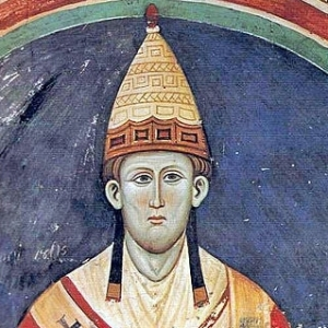 Pope Innocent III, with a hat resembling the apparel of Dagon's preists