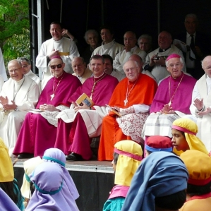 Catholic Cardinals in purple and red.