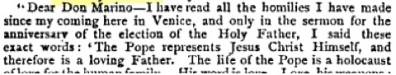 A letter from Cardinal Giuseppe Sarto (who became Pope Pius X in 1903) as quoted in Publications of the Catholic Truth Society Volume 29 (Catholic Truth Society: 1896): 11.