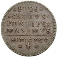 Papal coin of Pius VI from the 1700s, with the title