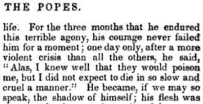 Pope Clement XIV laments his impending death caused by Jesuit strategizers. Source:  Louis-Marie de Lahaye Comenin, A Complete History of the Popes of Rome (J. & J. L. Gihon, 1851): 398.
