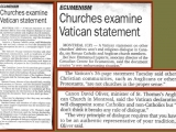 "September 5, 2000: ""Churches Examine Vatican Statement"""