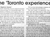 The 'Toronto Experience' by Dr. Stephen Vosloo.