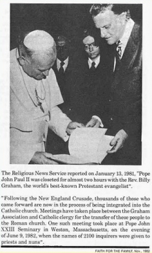 Pope John Paul II was closeted for almost two hours with the Rev. Billy Graham...Faith for the Family (November 1982).