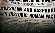 The San Francisco Chronicle issue featuring Mussolini and Gasparri's pact:
