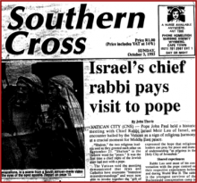 In this news story, Israel's chief rabbi paid a historic visit to the Pope which was heralded as a sign of religious harmony between Israel and the Papacy.