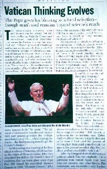 The Pope gives his blessing to natural selection—though man's soul remains beyond science's reach. Jim Collins et al.,
