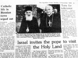 Israel invites the pope to visit the Holy Land. <br /><br /><em>Southern Cross</em> (Sunday November 8, 1992).