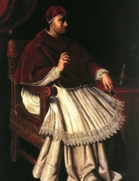 Leo X was Pope when Luther nailed his 95 theses to the wall. Public Domain https://commons.wikimedia.org/wiki/File:Valore_Casini_-_Portrait_of_Leo_X_-_WGA04525.jpg