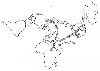 This diagram shows roots of animal migration across continents based on genetic profiles. It's fascinating that these roots happen to coincide with the position of the ark when it landed. Animals in Australia and other outlying areas must have crossed while land bridges were still available and the uniqueness of these creatures is based on adaptive genetic expressions rather than evolutionary processes.
