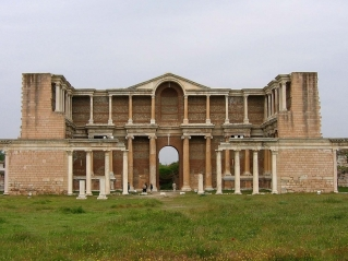 The restored Roman gymnasium at Sardis.