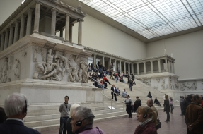 A reconstruction of the Pergamon altar at the Pergamon Museum in Berlin.