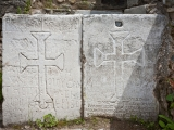 <p><span>Christian crosses carved into stone panels at Philadelphia in Turkey</span></p>