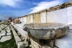 Carving of cross into stone at Laodicea in Turkey -- 123rf.com