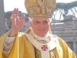 "<p>Pope Benedict XVI, with Maltese cross emblems on his robe. The four-spoked Maltese cross within a circle is a key symbol of <a title=""Read"" href=""http://amazingdiscoveries.org/S-deception_end-time_paganism_Catholic_sun-worship"" target=""blank"">sun worship</a>. <br /><br />Source:<a href=""http://commons.wikimedia.org/wiki/File:Beno%C3%AEt_XVI_2.jpg"" target=""blank""> Wikimedia Commons</a>.</p>"