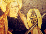 <p>Picture of Mary with a solar symbol. Note the halo behind her as well. <br /><br /> Source: <em>Great Controversy Picture CD</em>, LLT Productions.</p>